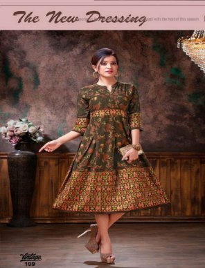 wood brown rayon fabric foil print work casual