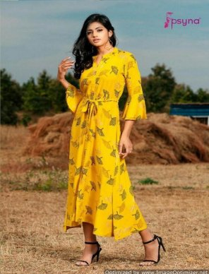 yellow rayon fabric printed work party