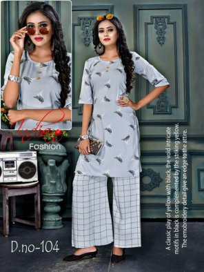 grey rayon fabric printed work casual