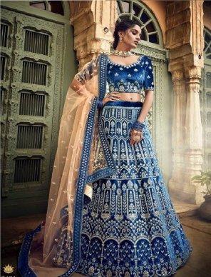 blue velvet fabric pure gota, thread and zari work wedding