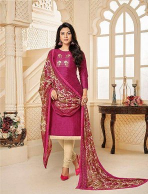 rani pink jharna slub and chifon mill fabric embroidery work festival