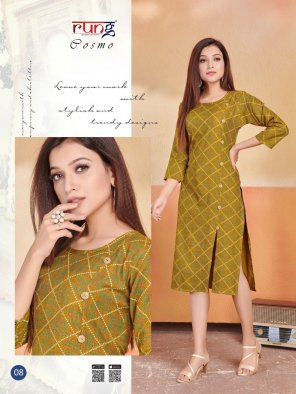 mustard yellow two ton rayon fabric print work casual