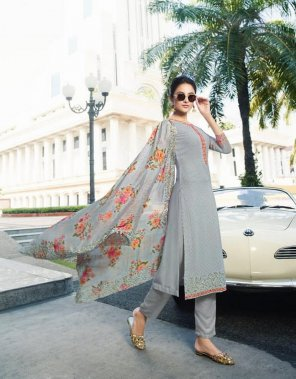 light grey pure georgette fabric embroidery work festival