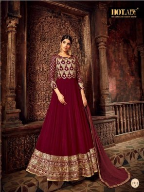 maroon satin fabric embroidery work wedding