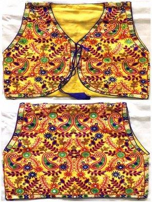 yellow banglori fabric thread and mirror  work navaratri special