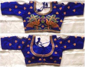 blue banglori fabric embroidery work wedding