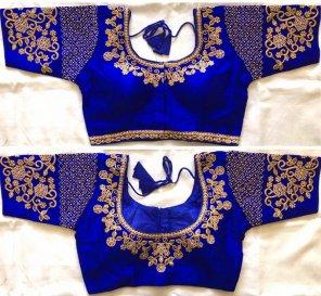 royal blue fentom silk fabric thread,motiwork and zari work wedding