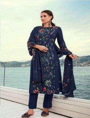navy blue pure pashmina fabric digital print with handwork work festival