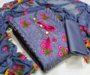 grey cotton fabric fancy embroidery work casual
