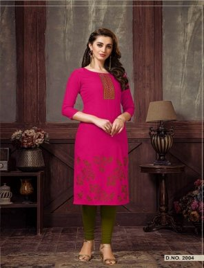 hot pink soft cotton fabric embroidery work casual