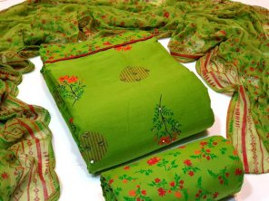 parrot cotton fabric mirrorwork work casual