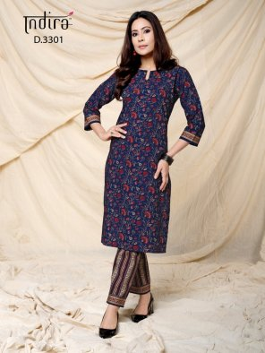 blue cotton fabric printed work casual