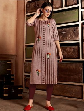 wood rose pure cotton fabric jari stripe and hand embroidery work casual