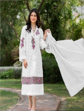 white jam cotton fabric fancy embroidery  work party