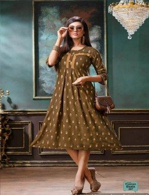 light coffee rayon fabric gold print work casual