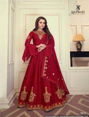 ruby red heavy muslin silk fabric embroidery work wedding