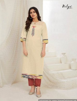 cream cotton and rayon fabric touch up embroidery work casual