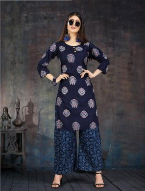 navy blue heavy rayon fabric printed work casual