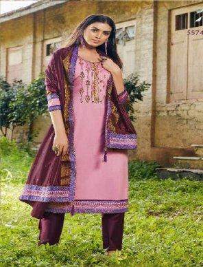 pink jam silk fabric khatli work work festival