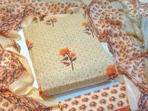 cream heavy cotton  fabric printed work casual