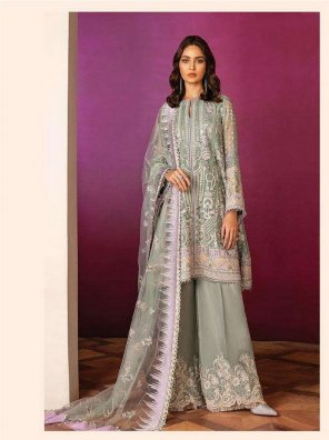 olive net fabric embroidery work wedding