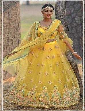 yellow butterfly net fabric resham,zari and dori work wedding