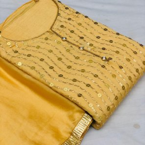 yellow  georgette fabric embroidery work fastival