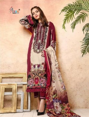 maroon cotton fabric print work casual