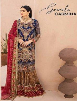 blue fox georgette fabric heavy embroidery with diamond work wedding