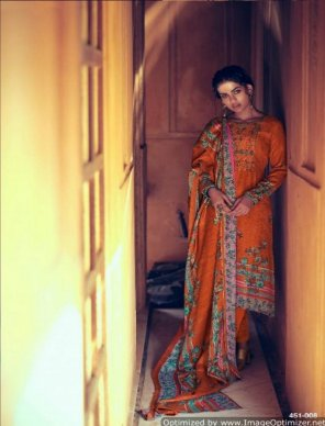 orange pure pashmina fabric kashmiri work work festival