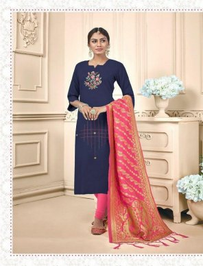 blue cotton fabric embroidery work casual