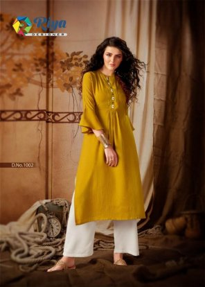 yellow heavy rayon fabric stich lining with hand work work casual