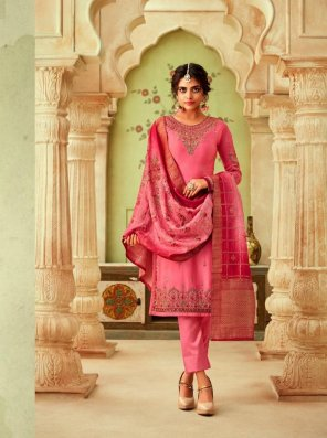 pink georgette fabric heavy work work wedding