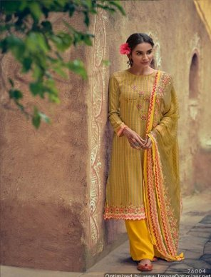 mustard yellow pashmina fabric print with embroidery work festival