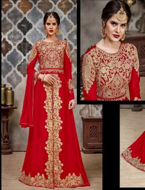 red faux georgette fabric embroidery work wedding