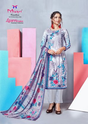 ice blue pure lawn cotton fabric printed work casual