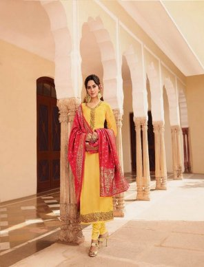 yellow satin georgette fabric embroidery work festival