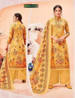yellow satine fabric digital print work casual