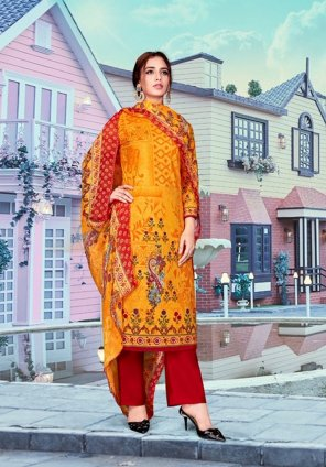 fire yellow pure lawn cotton fabric printed work festival