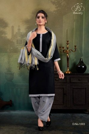 black rayon with chanderi dupatta fabric plain work casual