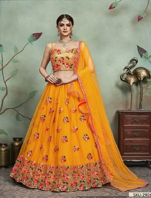mustard yellow soft net fabric sequines and thread work wedding