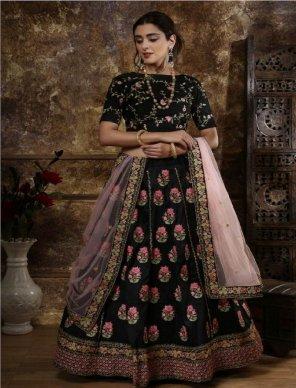 black phantom silk fabric thread and zari embroidery  work party