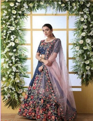 navy blue art silk fabric thread and zari embroidery  work party
