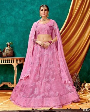 baby pink sparkle net fabric lucknowi work work party