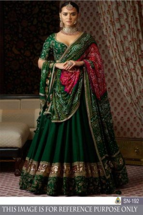 green two tone soft silk fabric heavy embroidery and zari work bridal