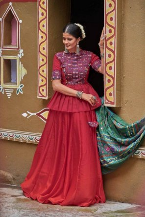 red soft cotton fabric resham embroidery with real mirror work festival