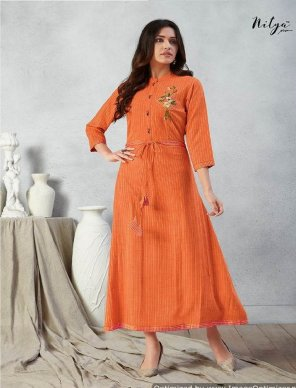 orange rayon fabric touch up embroidery work party