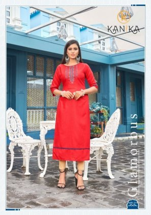 red rubby silk fabric embroidery work casual