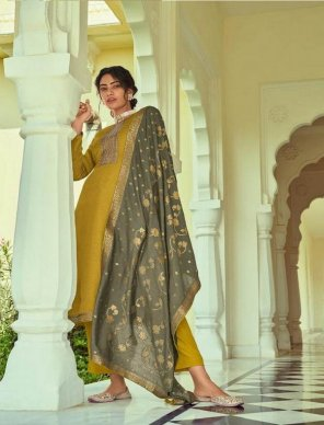 mustrard yellow silk fabric self butti and embroidery work festival