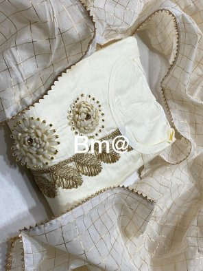 white cotton fabric fancy work work festival